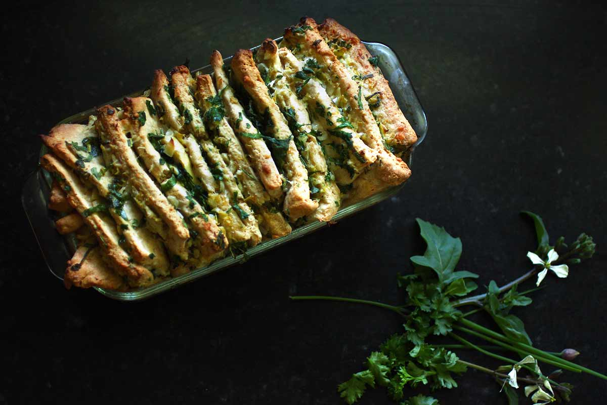Artichoke Pull-Apart Bread with spring herbs — Recipe Fiction